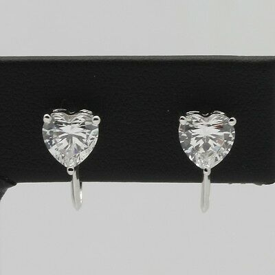 Sterling Silver Diamonique 6mm Heart Shaped CZ Screwback Earrings