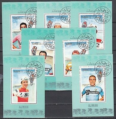 * Ajman, Mi 354-360 C. Cycling Personalities issue as s/sheets. Canceled, C.T.O.