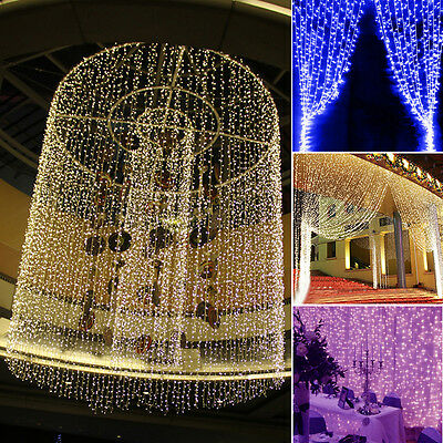 3x3M 300 LED Curtain String Lamps Fairy Lights Xmas Wedding Party Hanging Decor