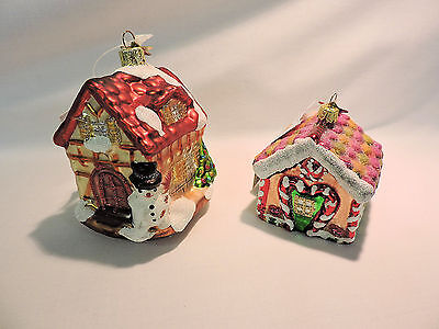 Two GINGERBREAD HOUSES -  Santa Klaus & Co SKC Blown Glass Ornaments - NWT