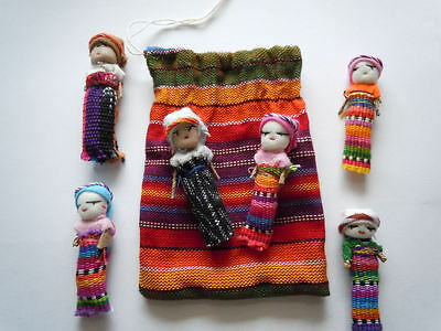 "6x Large Guatemalan Worry Dolls in POUCH - Hand Made Mayan Trouble Doll 2"" Bag"