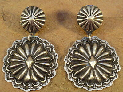 Old Style Navajo Sterling Silver Stamped Concho Earring