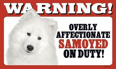 "Warning Overly Affectionate Samoyed On Duty Wall Sign 5"" x 8"" Dog Puppy"