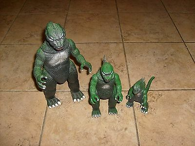"""3 VINTAGE GODZILLA FIGURES BY IMPERIAL LOOSE MONSTER SET 1980s TOHO CLASSIC 13"""""""