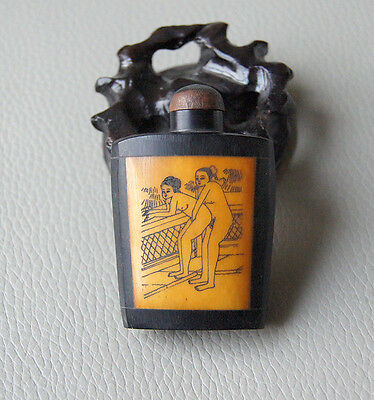 Rare Antique Chinese Hand-carved sex culture Cattle Bone snuff bottle