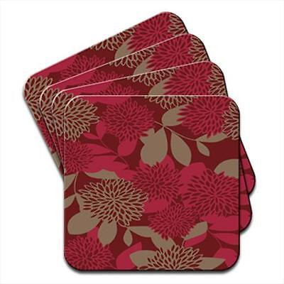 Abstract Red Flowers Set of 4 Coasters