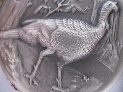 1+ Oz  Longines Sterling Silver Rare Wild Turkey 3D High Relief Coin + Gold B/u