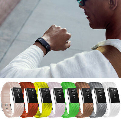 New Arrival!For Fitbit Charge 2 Large S TPU Watch Bangle Strap Wrist Band+Clasp