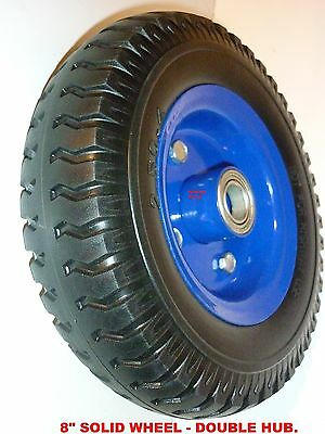 TROLLEY WHEEL 8 INCH OD.- DOUBLE HUB- SOLID RUBBER (2.50-4)- 19mm BORE - NEW.