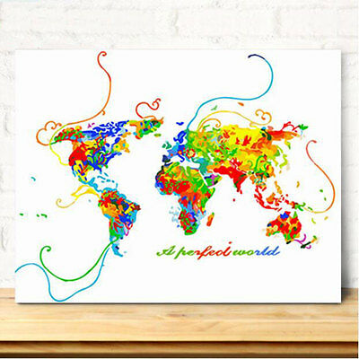 Framed Painting by Number kit Beautiful Map of The World The Earth DIY JC7501
