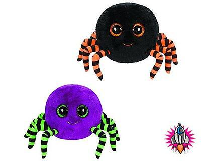 Ty Beanie Boo Babies Plush Soft Toy Halloween Crawley Spider Purple Black
