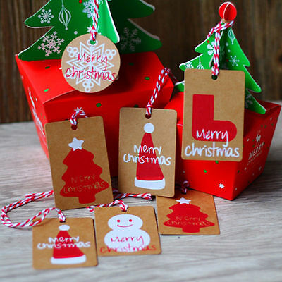 50Pcs New Christmas Kraft Paper Gift Tags Scallop Label Luggage Blank + Strings