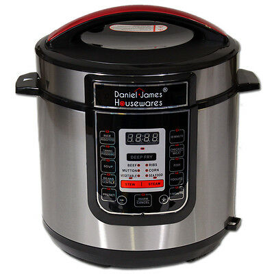 Electric Automatic Pressure Cooker 6 Litre 1000W Multi Function Stainless Steel