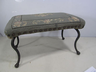 Vintage Needlepoint Topped Foot Stool