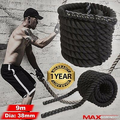38mm 9m Battle Power Rope Battling Sport Exercise Fitness Bootcamp Gym Training