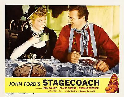 JOHN WAYNE And CLAIRE TREVOR Close-Up Eating In STAGECOACH 11x14 LC Print R-48