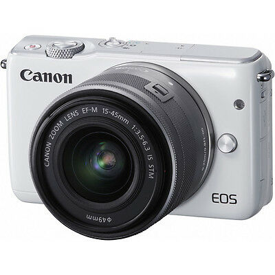Canon EOS M10 Mirrorless Digital Camera - White with 15-45mm Lens