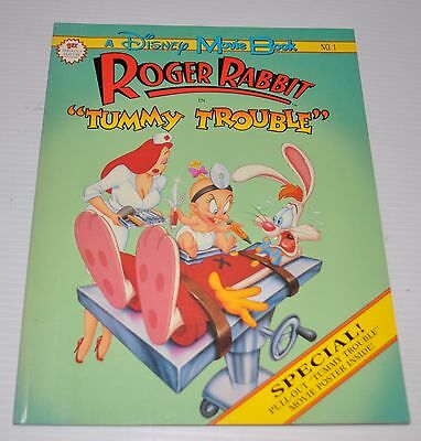 ROGER RABBIT in Tummy Trouble Movie Book Walt Disney w/ poster