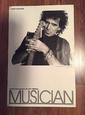 KEITH RICHARDS: Vintage Promo Poster from Musician Magazine, 1980's