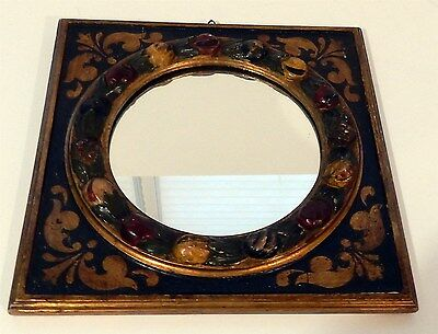 Antique Italian Hand Carved & Painted Fruit Motif Wooden Mirror ala Della Robia