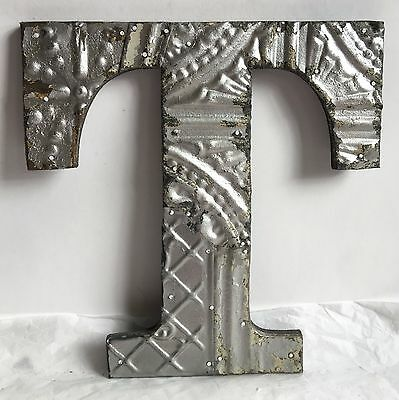 "1890's Antique Tin Ceiling Wrapped 12"" Letter 'T' Patchwork Metal Chic Silver R1"