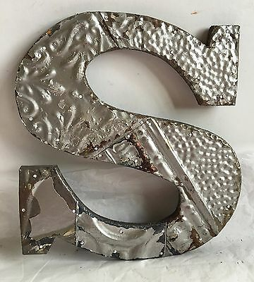 "Shabby Antique Tin Ceiling Wrapped 12"" Letter 'S' Patchwork Metal Silver R3"