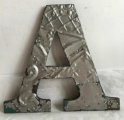 """Large Reclaimed Tin Ceiling Wrapped 12"""" Letter 'A' Patchwork Metal Silver R5"""