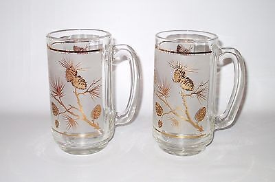 Libbey Dominion 2 Gold Pine Cone Beer Mugs Frosted Glass Retro 1950s Canada