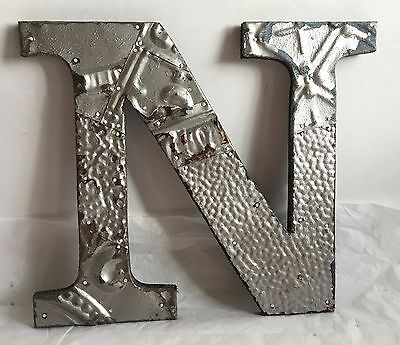 """1890's Antique Tin Ceiling Wrapped 12"""" Letter 'N'' Patchwork Metal  Silver R6"""