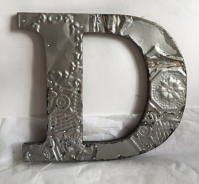 "Antique Tin Ceiling Wrapped 12"" Letter 'D' Patchwork Metal Mosaic Silver R10"