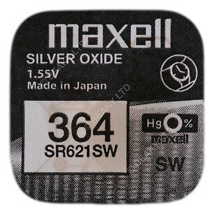 GENUINE Maxell 364 SR621SW Silver Oxide Watch Battery 1.55v [1-pack]