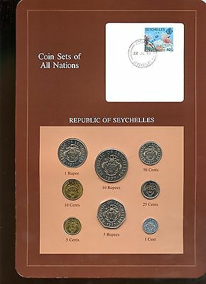 """Seychelles ~ 1977-1982 ~ 8 Coin Set ~ Bu ~ """"coin Sets Of All Nations"""