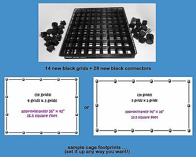 14 BLACK grids + 28 connectors for guinea pig C&C (cube & coroplast) cage +tips