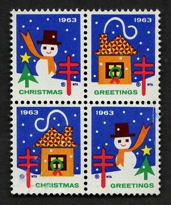 1963 (WX218) Block of 4 (Snowman/Snow/Night) Ultra US Christmas Seals/Stamps MNH