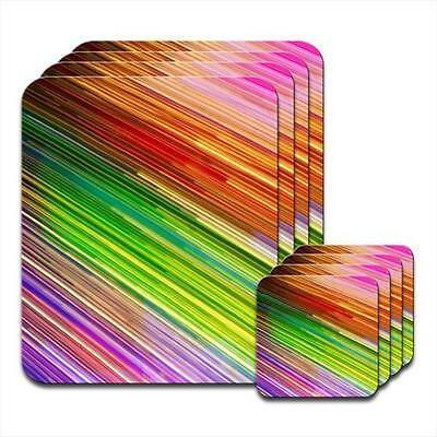 Multicolour Lines Purple Set of 4 Coasters & Placemats