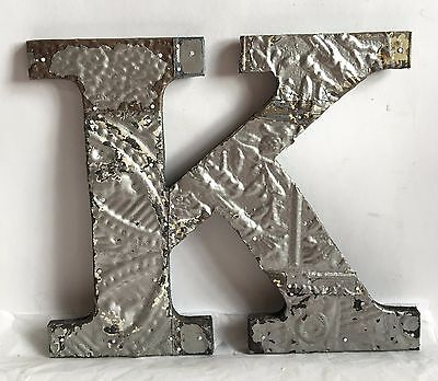 "Antique Tin Ceiling Wrapped 12"" Letter 'K' Patchwork Metal Mosaic Silver R13"
