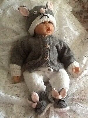 Beautiful 3 Pice Handknitted Mouse Set Size 0 To 3 Months Ooak Doll 21 In