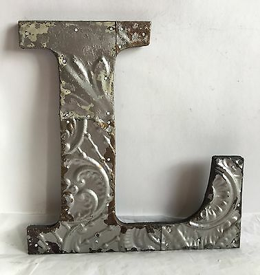 "Antique Tin Ceiling Wrapped 12"" Letter 'L' Patchwork Metal Mosaic Silver R15"