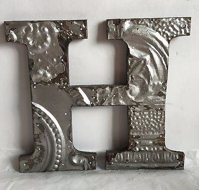 "Antique Tin Ceiling Wrapped 12"" Letter 'H' Patchwork Metal Chic Silver R17"