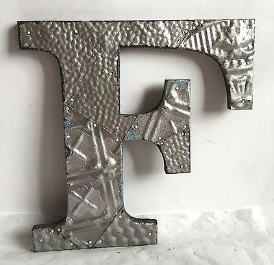 "Shabby Antique Tin Ceiling Wrapped 12"" Letter 'F' Patchwork  Mosaic Silver R19"