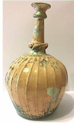 RARE Large Ancient Roman Glass Bottle. 8in