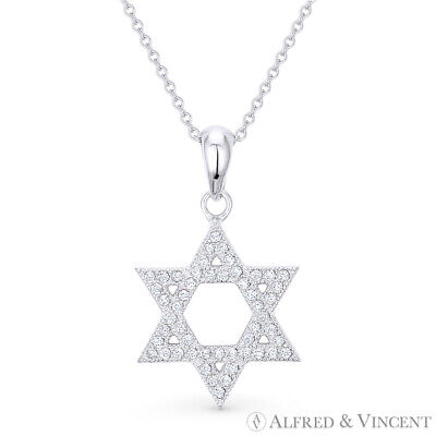 Star of David Charm Jewish Magen CZ Pave Necklace Pendant in 925 Sterling Silver