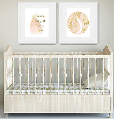 Nursery Wall Print - Gold Foil Art - Watercolor Circle w/Letter - Little Sparkle