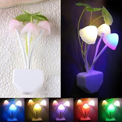 1x US Colorful Sensor LED Mushroom Night Light Wall Lamp Home Decor Romantic New