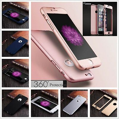 360° Hard Ultra Slim Case Cover + Tempered Glass For Apple iPhone 6 6S 7 Plus