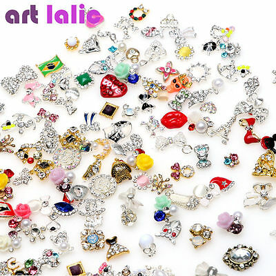 10 / 20 Pcs 3D Assorted Design Alloy Jewelry Nail Art Tips DIY Decorations Gift