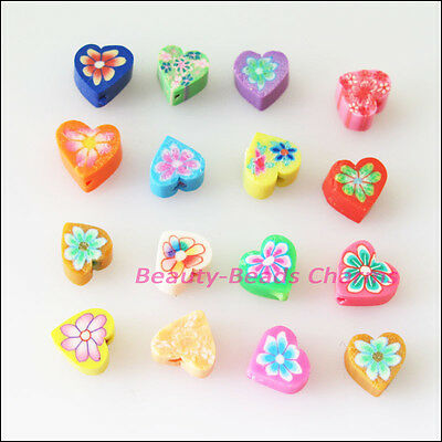 35 New Charms Handmade Polymer Fimo Clay Heart Flat Spacer Beads Mixed 6mm
