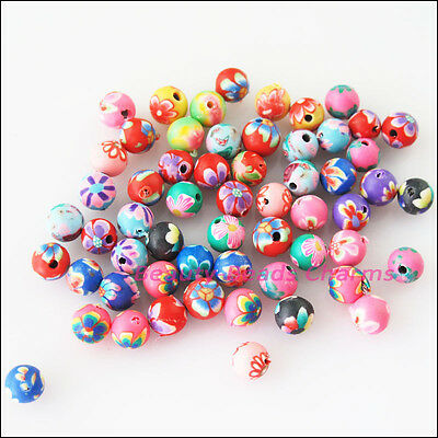 40 New Charms Handmade Polymer Fimo Clay Round Spacer Beads Mixed 6mm