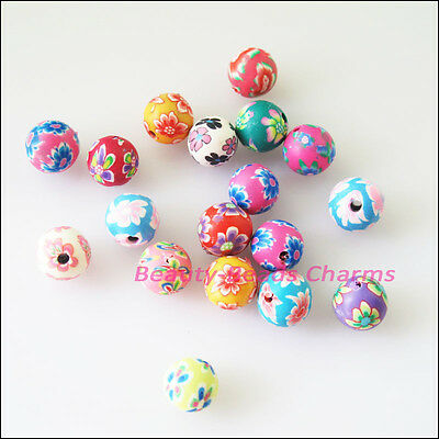 30 New Charms Handmade Polymer Fimo Clay Round Spacer Beads Mixed 8mm