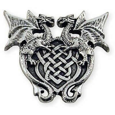 """1 3/16"""" Antique Silver Plate Winged Dragon Concho - Crest Leathercraft"""